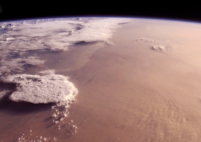 A Saharan sandstorm leaves the West Coast of Africa